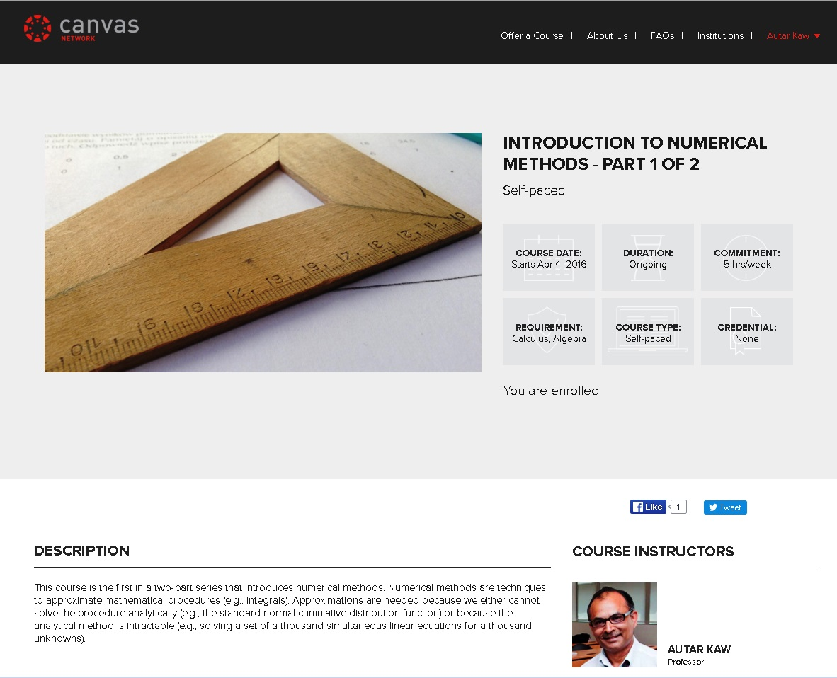 A MOOC on Numerical Methods Released