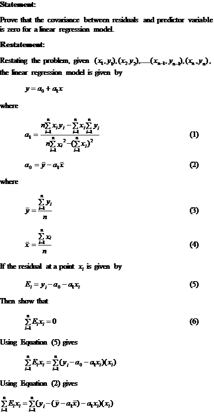 covariance error predictor variable zero Page 1